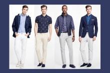 Pantalonii deschiși la culoare de la Brooks Brothers completează ținuta de vară casual dar elegantă