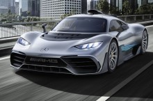Showcar Mercedes-AMG Project ONE, two-seater supersports car with the very latest and efficient, fully-fledged Formula 1 hybrid technology, high-performance plug-in hybrid drive system with 1.6 1.6-litre V6 turbocharged petrol engine and four electric motors