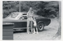 Sean's mom, Robbie Kiernan with family dog, Gatsby, alongside her daily driver in 1977 - the original Mustang from movie Bullitt