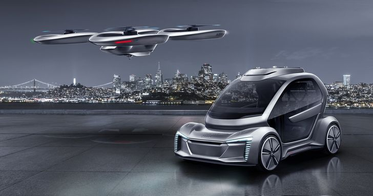Pop.Up Next – a modular concept to solve traffic problems in cities. The ultra-light, two-seater passenger cabin can be attached either to a car module or to a flight module. The dominant interior feature is a 49-inch screen, while interaction between humans and the machine is performed by speech and face recognition, eye-tracking and a touch function.